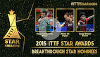 Hugo Calderano, Mima Ito and Jang Woojin contends for the 2015 Breakthrough Star