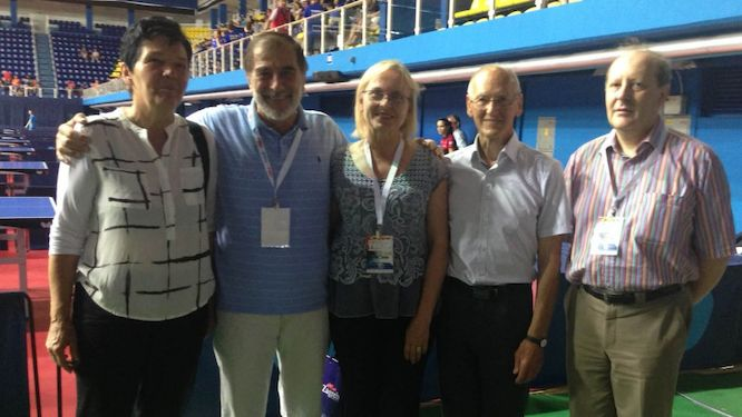 Sonja POLJSAK Member of Slovenian Fair Play Movement, Ivo-Goran MUNIVRANA ETTU Deputy President, Biserka VRBEK Executive Board Member of European Fair Play Movement, Miroslav CERAR Vice President of European Fair Play Movement and Richard SCRUTON ETTU Secretary General (from left to right)