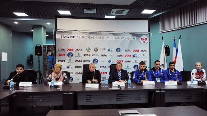 Press representative Dimirij PLANIDIN, ETTU Youth Committee Chairwoman Sandra DEATON, representative of the city of Sochi Sergey VOLYNSKIY, First Vice President of the Table Tennis Federation of Russia Vladimir GRIGORIEV, Igor RUBTSOV, Andrey KRUTOV, Sadi ISMAILOV, Maria MALANINA