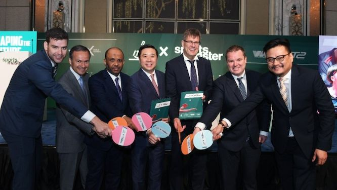 ITTF Leaders after signing historic new deal with Sportsmaster