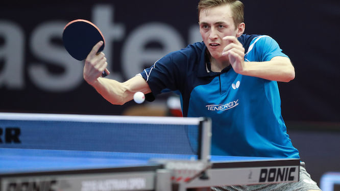 Liam PITCHFORD over Timo BOLL to the semis