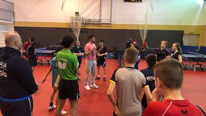 Two Croatian Olympic athletes works with European youth
