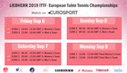 Eurosport schedule confirmed – ETTC in Nantes in 2 weeks