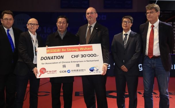 Mr Laurent Wehrli, Mayor of Montreux and Member of the Swiss Parliament,His Excellency Mr Gang Wen Bing, Ambassador of the Peoples Republic of China in Switzerland, Mr Gong Weiyun, CEO of China Construction Bank Zürich Branch, Mr Nicholas Imhof, President of the Organising Committee, Mr Ronald Kramer, President of the European Table Tennis Union, and Mr Thomas Weikert, President of the International Table Tennis Federation