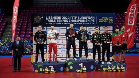 President Igor LEVITIN congratulates winners of LIEBHERR ITTF European Championships